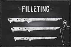 Filleting knife. Vector sketch chalk illustration design Royalty Free Stock Photo