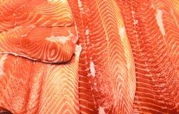 fillets семги Свежее филе семг, форели, на рынке на льде Стоковая Фотография