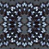 Filligree pattern of glass and steel. Digital art design. Abstract filligree star texture,made of a building out of glass and steel seen through kaleidoscope vector illustration