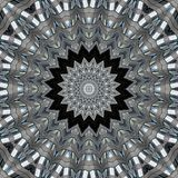 Filligree pattern of glass and steel. Digital art design. Abstract filligree star texture, made of a building out of glass and steel royalty free illustration
