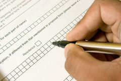 Filling Application Form Stock Photography