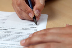 Filling Application Form Stock Photo