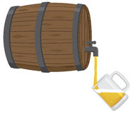 Filling a Beer Mug From Keg. A glass beer mug is being filled from a wooden beer keg Stock Photo