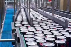 Filling of beverage cans Stock Image