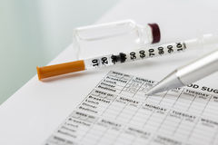 Filling in the blood glucose diary Stock Image