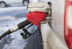 Filling the car with gasoline. At a gas station Royalty Free Stock Photo
