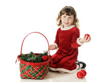 Filling the Christmas Basket Stock Photo