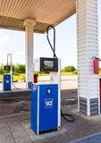 Filling the column with different fuels at the gas station Stock Images