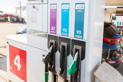 Filling the column with different fuels at the gas station Lukoi. Samara, Russia - April 30, 2017: Filling the column with different fuels at the gas station Royalty Free Stock Photography