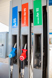 Filling the column with different fuels at the gas station. SAMARA, RUSSIA - JULY 6, 2015: Filling the column with different fuels at the gas station Royalty Free Stock Photography