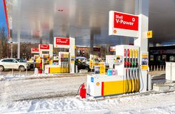 Filling the column with different fuels at the gas station Shell. Samara, Russia - January 8, 2018: Filling the column with different fuels at the gas station Stock Photo