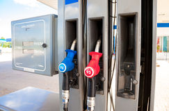Filling the column with different fuels at the gas station Surgu. BOROVICHI, RUSSIA - JULY 18, 2015: Filling the column with different fuels at the gas station Stock Photos