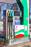 Filling the column with different fuels at the gas station Tatne Royalty Free Stock Image