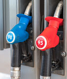 Filling the column with different fuels at a petrol station Royalty Free Stock Photo