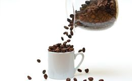 Filling the cup with coffee beans Royalty Free Stock Photo