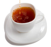 Filling cup of rooibos tea. Isolated on white Stock Photography
