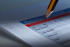 Filling Document Form. Paperwork, office, business Stock Image