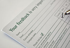 Filling feedback form Royalty Free Stock Images