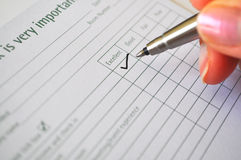 Filling feedback form Stock Photo