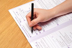 Filling the form stock photography