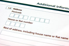 Filling a form. Detail view of a typical adminitration form Stock Images