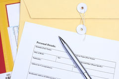 Filling a form. Many uses for business Stock Photography