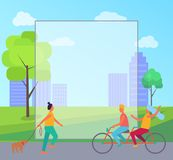 Filling Form and Active People Vector Illustration. Filling form and active people, girl walking her dog and couple cycling on bicycle in city park vector Royalty Free Stock Photography