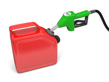 Filling with gas. Illustration of green fuel pump nozzle and red jerry can  on white background Stock Photos