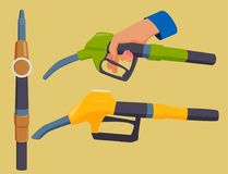 Filling gasoline station pistol in people hands refinery refueling petroleum tank service tool vector illustration. Filling gas station pistol vector Stock Photography