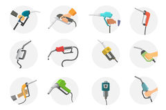 Filling gas station pistol vector illustration. Royalty Free Stock Photos