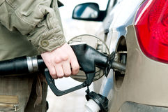 Filling the gas tank of the car Stock Photography
