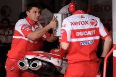 Filling gasoline Ducati 1998 Xerox team stock image