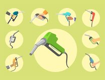 Filling gasoline station pistol in people hands refinery industry refueling petroleum tank service tool vector. Filling gas station pistol vector illustration Stock Image