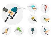 Filling gasoline station pistol in people hands refinery industry refueling petroleum tank service tool vector. Filling gas station pistol vector illustration Stock Image