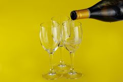 Filling a glass with Champagne Royalty Free Stock Photo