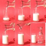 Filling a Glass of Milk. Time sequence of filling a glass of milk Stock Photos