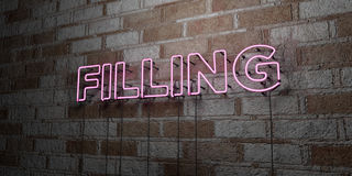 FILLING - Glowing Neon Sign on stonework wall - 3D rendered royalty free stock illustration Royalty Free Stock Images