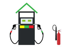 Filling Gun on Refueling the Car and fire extinguisher.. Vector Illustration. EPS10 Royalty Free Stock Photos