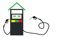 Filling Gun on Refueling the Car. Vector Illustration. Royalty Free Stock Photography
