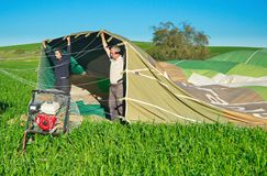Filling a hot air balloon in Israel Royalty Free Stock Photo