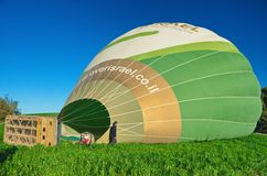 Filling a hot air balloon in Israel Royalty Free Stock Photography