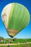 Filling a hot air balloon in Israel Stock Photo