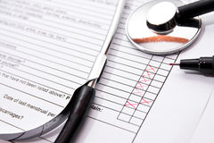 Filling insurance questionnaire Stock Photos