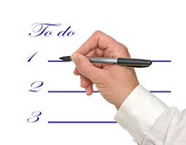 Filling a list. Filling a to do list Royalty Free Stock Image