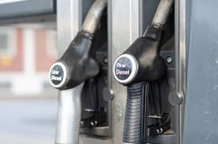 Filling Lkw Pkw diesel in station.  stock photography