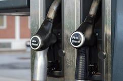 Filling Lkw Pkw diesel in station.  stock images
