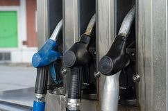 Filling petroll in station. Filling Lkw Pkw diesel in station stock photography