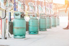 Filling lpg gas bottle Royalty Free Stock Photos