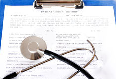 Filling the medical history questionnaire Stock Photography