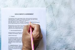 Free Filling Non-Compete Agreement Form Royalty Free Stock Photo - 155546235